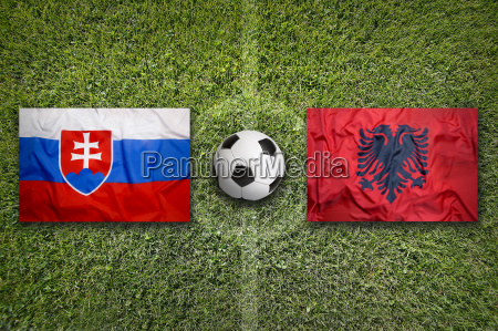 slovakia vs albania flags on soccer