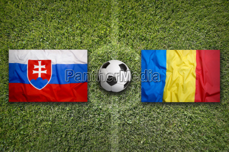 slovakia vs romania flags on soccer