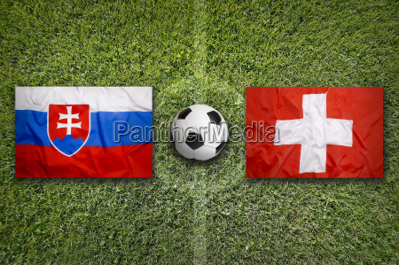 slovakia vs switzerland flags on soccer