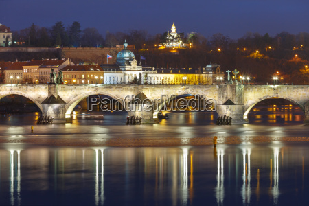 charles bridge at night in prague