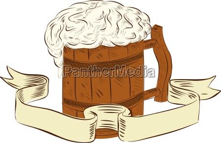 medieval, beer, mug, foam, drawing - 17912290