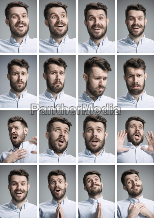 set of young man39s portraits with