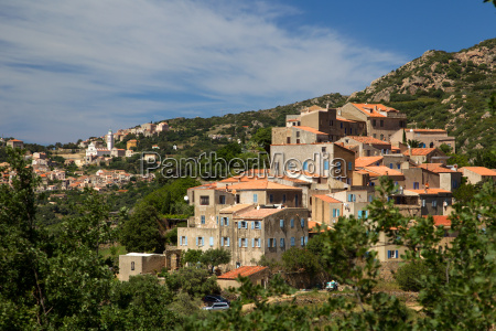 corsica view over pigna and