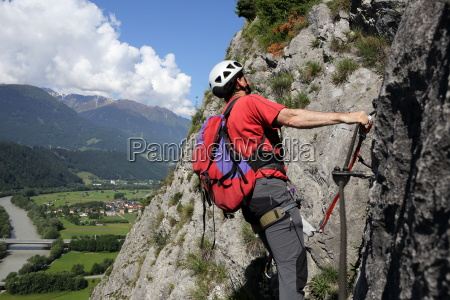 climbing on the wire rope