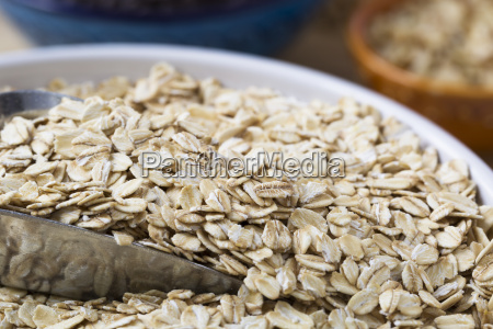 healthy raw oats close up