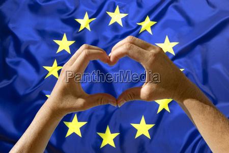 hands heart symbol european union flag
