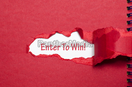 the word enter to win appearing
