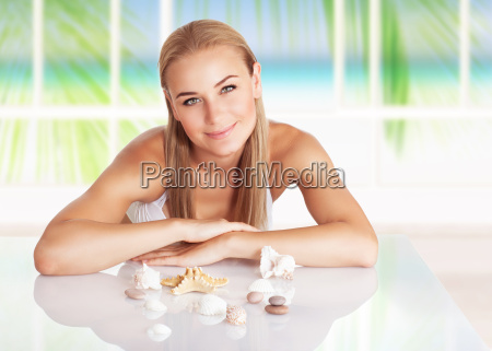 beautiful woman in the beach house