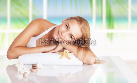 beautiful woman on the spa resort