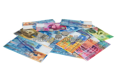 heap of swiss franc banknotes and