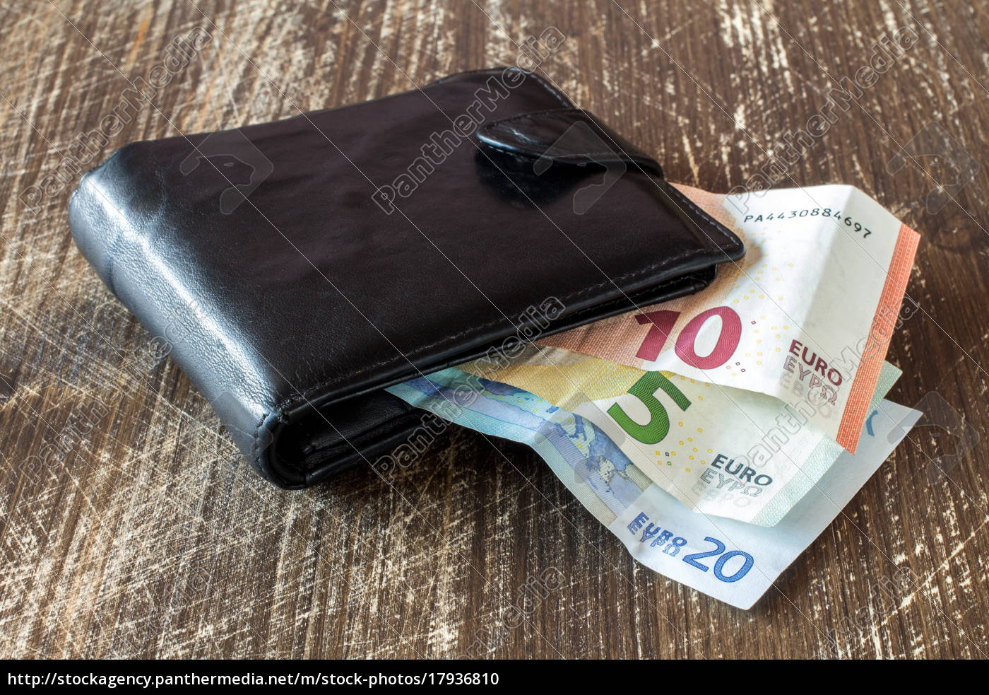 Black Leather Wallet With Euro Currency