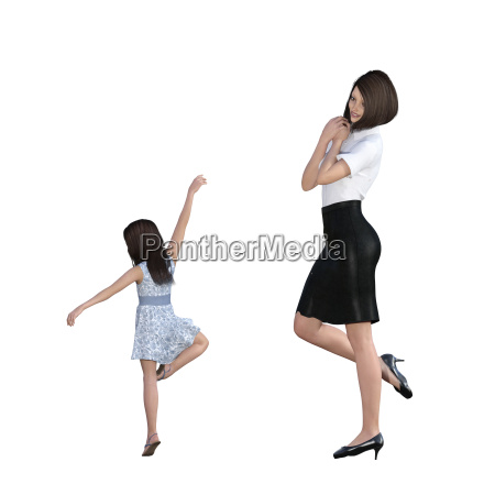 mother daughter interaction of girl showing