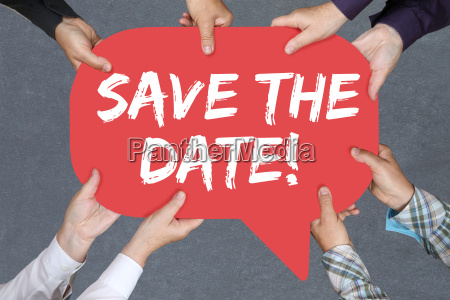 group people holding save the date