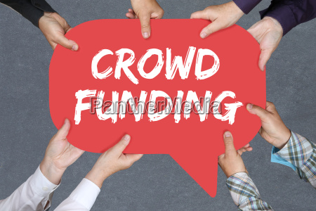 group people hold crowd funding crowdfunding