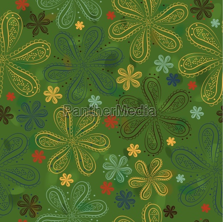 green floral seamless pattern colorful flowers