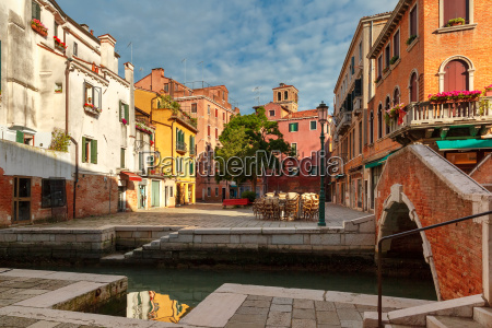 colorful lateral canal and bridge in