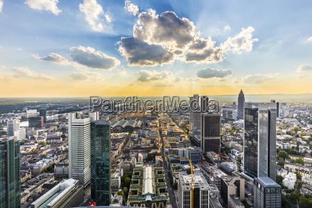 view to skyline of frankfurt from
