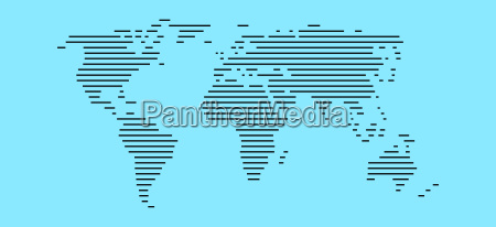 world map light blue with stripes
