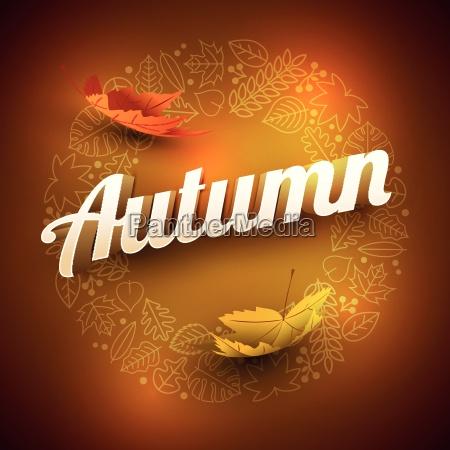 vector autumn frame with various leaf