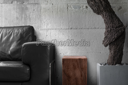 black sofa wooden table and old