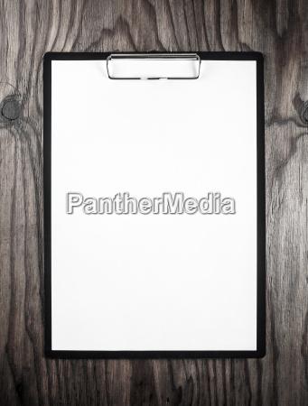 blank letterhead in clipboard