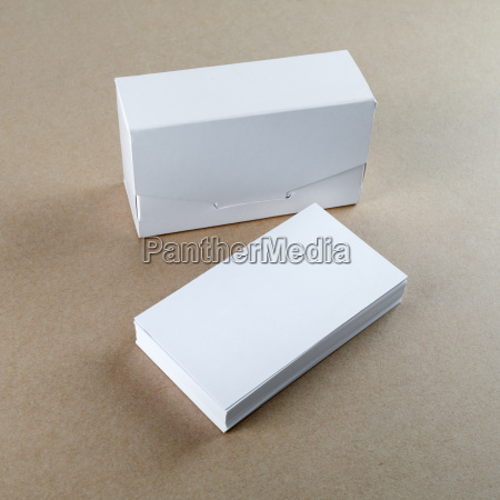 business cards and a box for