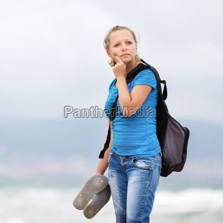 girl with a backpack