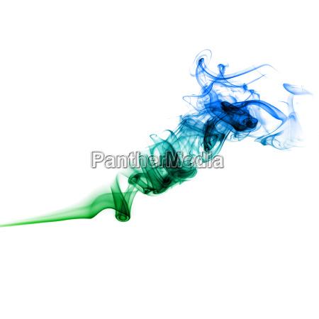 green and blue smoke