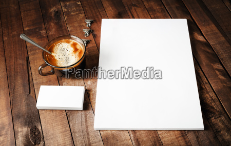 letterhead coffee cup and business cards