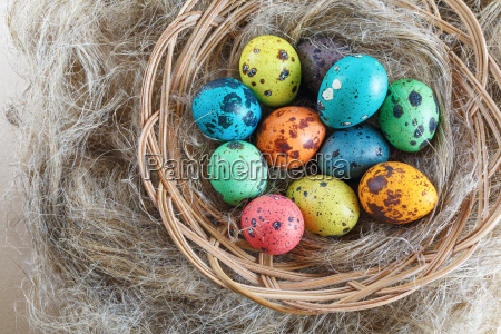 easter eggs on linen background