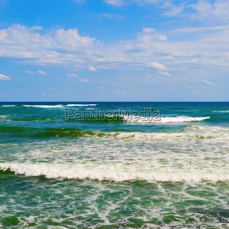 blue sky and sea waves