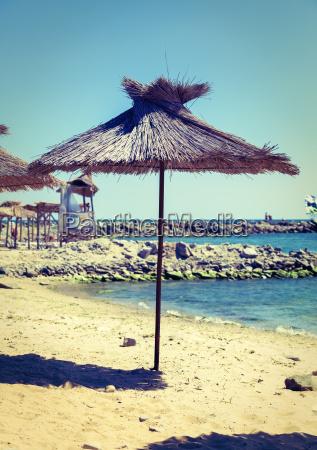 beach straw umbrella