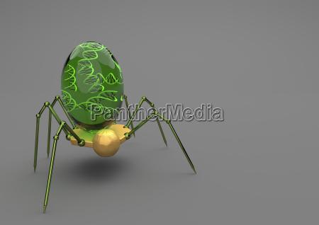 nanorobotics with dna on grey background
