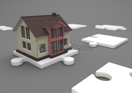 illustration house on the white puzzle