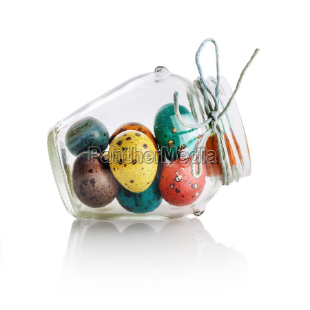 easter eggs in glass jar