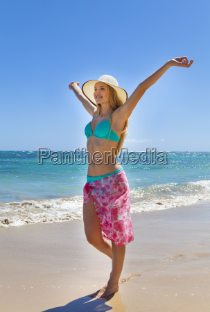 dominican rebublic young woman walking along