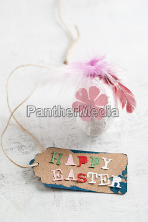 happy easter tag on easter egg