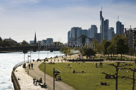 germany hesse frankfurt people at river
