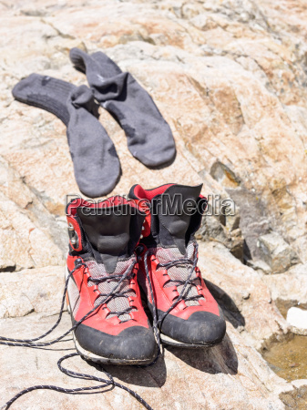 hiking boots and socks