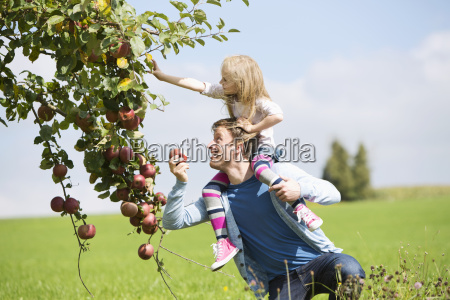 little girl picking an apple from