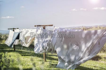 italy laundry drying on washing line