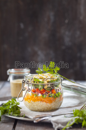 rainbow salad in a jar quinoa