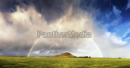 uk scotland east lothian rainbow over