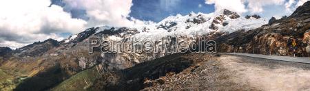 peru snowy mountains in huaraz panoramic