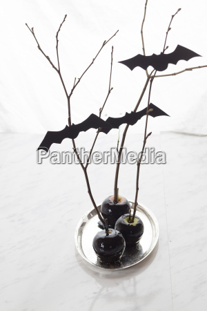 black candied apples with halloween decoration