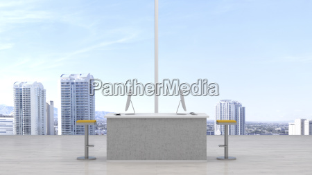 modern workspace in front of skyline