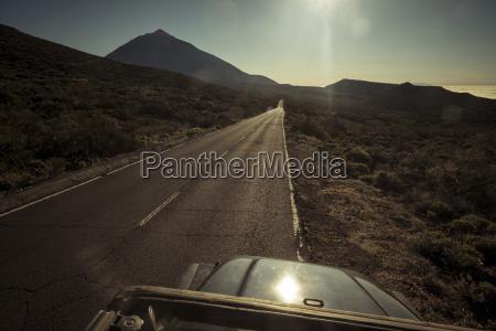 spain tenerife empty road in el