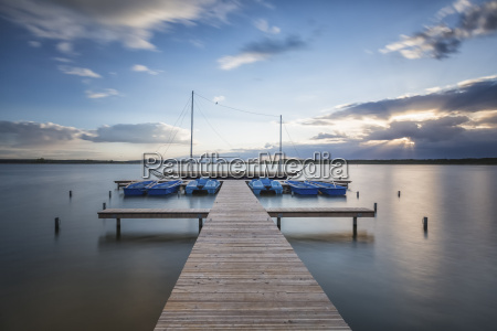 germany lake rangsdorf jetty at sunset