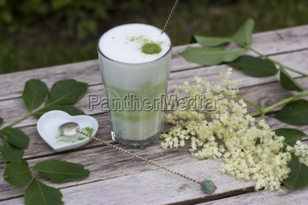 matcha tea with milk in glass