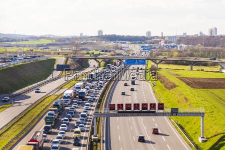 germany near stuttgart traffic jam on